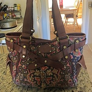 Fossil Gorgeous Canvas And Leather Bag